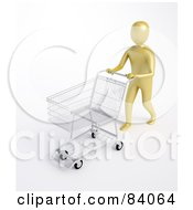 Royalty Free RF Clipart Illustration Of A 3d Human Figure Pushing An Empty Store Shopping Cart
