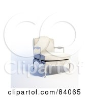 Royalty Free RF Clipart Illustration Of A 3d Old Fashioned White Arm Chair by Mopic