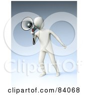 Royalty Free RF Clipart Illustration Of A 3d White Human Figure Announcing Through A Megaphone Over Blue