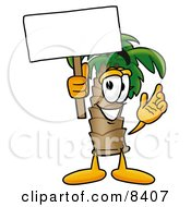Palm Tree Mascot Cartoon Character Holding A Blank Sign