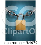 Royalty Free RF Clipart Illustration Of A Golden 3d Padlock Securing Together Two Chains Over Blue by Mopic