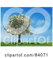 Royalty-Free (RF) Clipart Illustration of a 3d Money Tree Abundant With Cash In A Sunny Landscape by Mopic #COLLC84071-0155