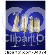 Royalty Free RF Clipart Illustration Of 3d Champagne Glasses In The Shape Of The New Year Of 2010