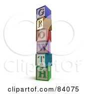 Royalty Free RF Clipart Illustration Of A Stacked Tower Of 3d Letter Blocks Spelling Growth by Mopic