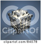 Royalty Free RF Clipart Illustration Of Light Shining Out Of An Exploding Puzzle Cube by Mopic