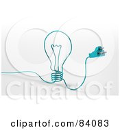 Royalty Free RF Clipart Illustration Of A 3d Blue Cable With A Plug Forming A Light Bulb by Mopic