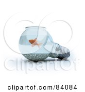 Royalty Free RF Clipart Illustration Of A 3d Light Bulb Fish Bowl by Mopic