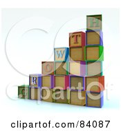 Royalty Free RF Clipart Illustration Of A Bar Graph Or Steps Made Of 3d Letter Blocks Spelling Growth by Mopic