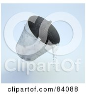 Royalty Free RF Clipart Illustration Of A 3d Metal Pail Pouring Water