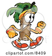 Palm Tree Mascot Cartoon Character Speed Walking Or Jogging