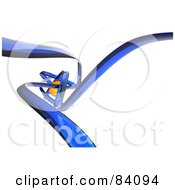 Blue Glass Swooshes Surrounding An Orange Orb