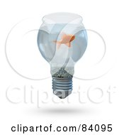 Royalty Free RF Clipart Illustration Of A 3d Goldfish Swimming In A Light Bulb by Mopic