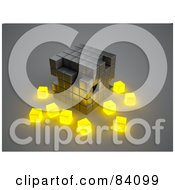 Metal 3d Cubic Structure With Glowing Yellow Cubes Surrounding