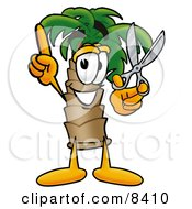Clipart Picture Of A Palm Tree Mascot Cartoon Character Holding A Pair Of Scissors