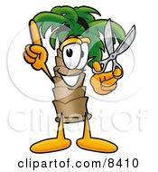 Palm Tree Mascot Cartoon Character Holding A Pair Of Scissors