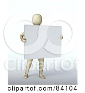 3d Human Figure Holding Up A Blank Sign