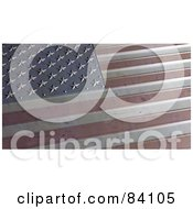 Royalty Free RF Clipart Illustration Of A 3d Metal American Flag At An Angle Showing Part Of The Stars And Stripes by Mopic