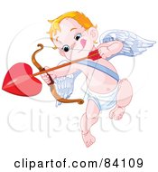 Royalty Free RF Clipart Illustration Of A Little Cupid Biting His Lip And Aiming A Heart Arrow by Pushkin