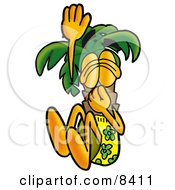 Clipart Picture Of A Palm Tree Mascot Cartoon Character Plugging His Nose While Jumping Into Water