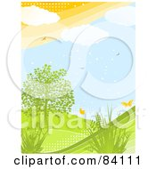 Royalty Free RF Clipart Illustration Of A Green Hilly Spring Landscape With Plants A Tree Butterflies And Birds With Halftone Dots