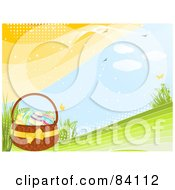 Royalty Free RF Clipart Illustration Of Eggs In An Easter Basket On A Green Spring Hill With Butterflies Birds And Plants With Halftone Dots