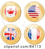 Royalty Free RF Clipart Illustration Of A Digital Collage Of Four 3d Golden Shiny Medals Canadian American United Kingdom And France by elaineitalia