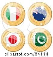 Royalty Free RF Clipart Illustration Of A Digital Collage Of Four 3d Golden Shiny Medals Italy Australia Japan And Pakistan
