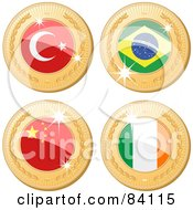 Royalty Free RF Clipart Illustration Of A Digital Collage Of Four 3d Golden Shiny Medals Turkey Brazil China And Republic Of Ireland by elaineitalia