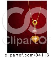 Royalty Free RF Clipart Illustration Of A 3d Gold Chain With Gold And Red Hearts Over A Red Background Of Hearts And Mesh Waves