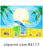 Royalty Free RF Clipart Illustration Of The Sun Shining Over Cocktails Pebbles And Shells On A Tropical Beach by elaineitalia