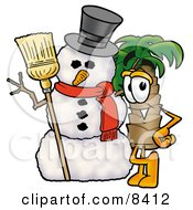 Clipart Picture Of A Palm Tree Mascot Cartoon Character With A Snowman On Christmas