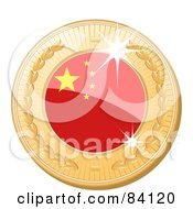 Royalty Free RF Clipart Illustration Of A 3d Golden Shiny China Medal by elaineitalia