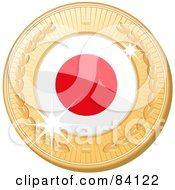 Royalty Free RF Clipart Illustration Of A 3d Golden Shiny Japan Medal by elaineitalia