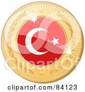 Royalty Free RF Clipart Illustration Of A 3d Golden Shiny Turkey Medal by elaineitalia