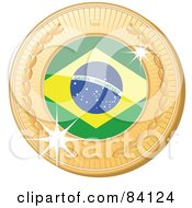 Royalty Free RF Clipart Illustration Of A 3d Golden Shiny Brazil Medal by elaineitalia