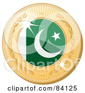 Royalty Free RF Clipart Illustration Of A 3d Golden Shiny Pakistan Medal by elaineitalia