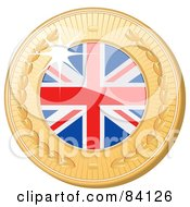 Royalty Free RF Clipart Illustration Of A 3d Golden Shiny United Kingdom Medal by elaineitalia