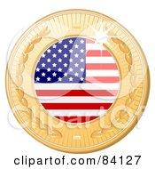 3d Golden Shiny United States Medal