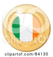 Royalty Free RF Clipart Illustration Of A 3d Golden Shiny Republic Of Ireland Medal by elaineitalia