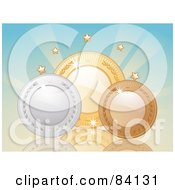 Royalty Free RF Clip Art Illustration Of 3d Silver Bronze And Gold Shiny Medals Under Stars Against Blue by elaineitalia