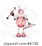 Royalty Free RF Clipart Illustration Of A Pink Springy Robot Cupid With A Bow And Arrow by mheld
