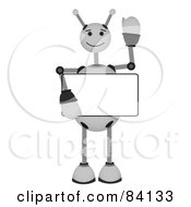Royalty Free RF Clipart Illustration Of A White Springy Robot Holding A Blank Sign And Waving by mheld
