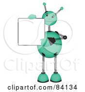 Royalty Free RF Clipart Illustration Of A Green Springy Robot Holding A Blank Sign And Waving by mheld