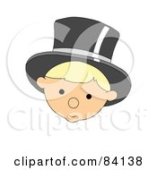 Royalty Free RF Clipart Illustration Of A New Year Baby Face Wearing A Top Hat by mheld