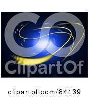 Royalty Free RF Clipart Illustration Of A Glowing Blue Orb With Yellow Rays On Black