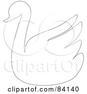 Royalty Free RF Clipart Illustration Of A Swan Outline