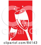 Two Toasting Wine Glasses And Hearts On Red