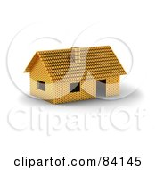 Royalty Free RF Clipart Illustration Of A 3d Home Constructed Of Gold Bars by stockillustrations