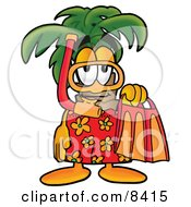 Palm Tree Mascot Cartoon Character in Orange and Red Snorkel Gear