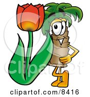 Clipart Picture Of A Palm Tree Mascot Cartoon Character With A Red Tulip Flower In The Spring